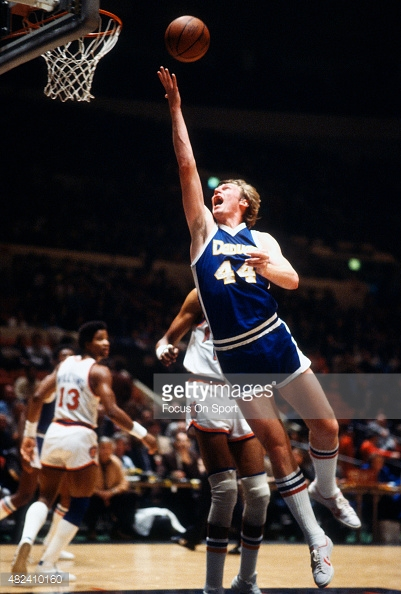 NEW YORK - CIRCA 1977: Dan Issel #44 of the Denver Nuggets goes up for a layup against the New York Knicks during an NBA basketball game circa 1977 at Madison Square Garden in the Manhattan borough of New York City. Issel played for the Nuggets from 1975-85. (Photo by Focus on Sport/Getty Images) *** Local Caption *** Dan Issel