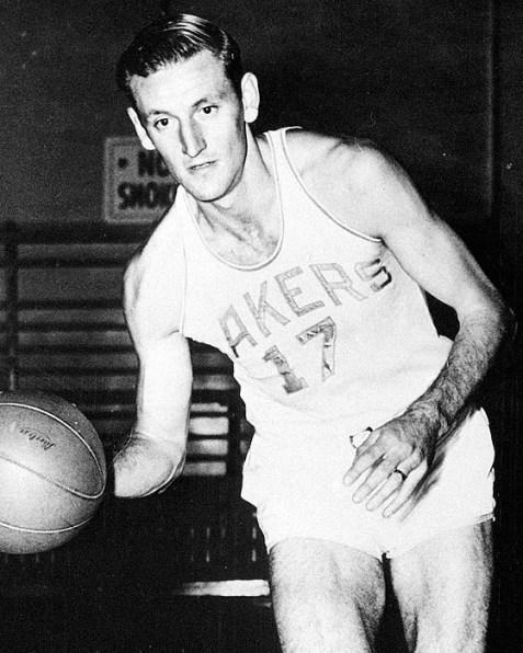 Minneapolis Lakers Jim, Pollard dribbles the ball January 18`, 1950. (AP PHoto)